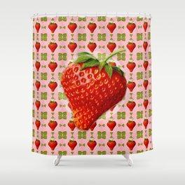 Vintage Strawberry Pattern Shower Curtain