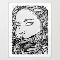 Girl with the Swirling hair 2 Art Print