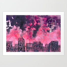 building watercolor city Art Print