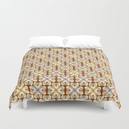 Golden hearts forged iron pattern Duvet Cover