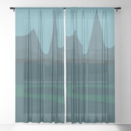 Blue Landscape Sheer Curtain