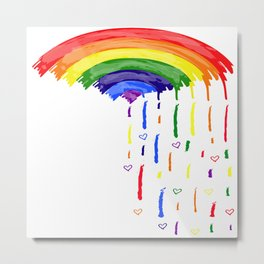 Love Rainbow Rain Metal Print