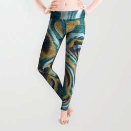 Abstract painting on metal texture Leggings