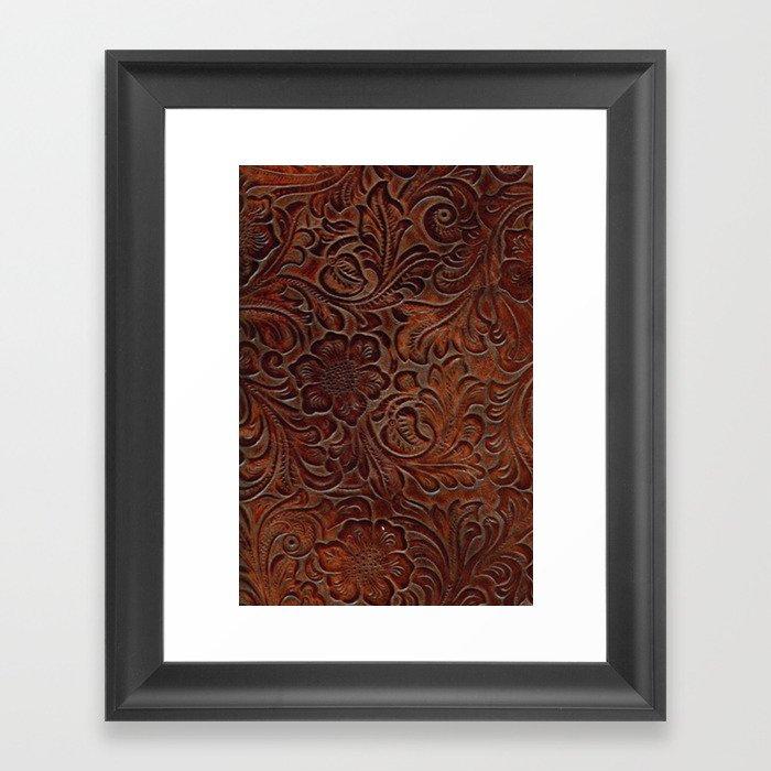 Burnished Rich Brown Tooled Leather Gerahmter Kunstdruck