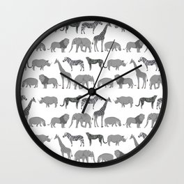 Safari animals minimal grey and white zebra giraffe cheetah hippo rhino nursery Wall Clock