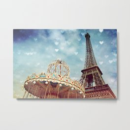 Carnival Paris -The Eiffel Tower & The Carousel  Metal Print