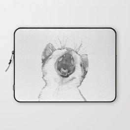Black and White Sleepy Kitten Laptop Sleeve