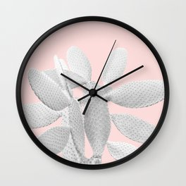 White Blush Cacti Vibes #1 #plant #decor #art #society6 Wall Clock