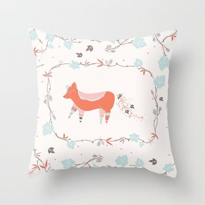 fox & grapes Throw Pillow