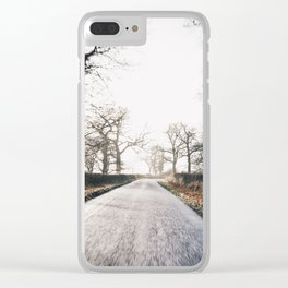 misty morning ride Clear iPhone Case