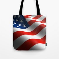 patriots Tote Bags featuring Patriotic US Waving Flag  by Barrier Style & Design