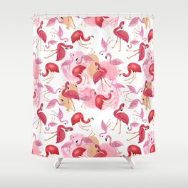 Watercolor Flamingos Shower Curtain