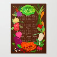 calender Canvas Prints featuring Veggie Calender 2016-brown by Elisandra