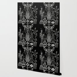 Santa Fe Garden – White Ink on Black Wallpaper