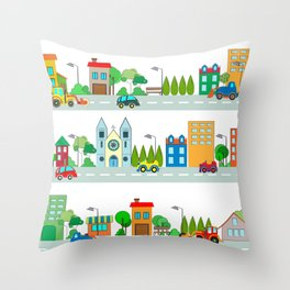 Cars in the town Throw Pillow