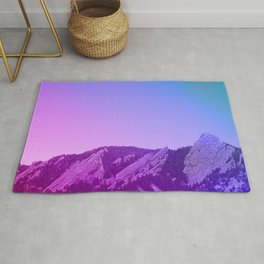 Boulder Colorado Flatirons Decor \\ Chautauqua Park Purple Pink Blue Green Nature Bohemian Style Art Rug