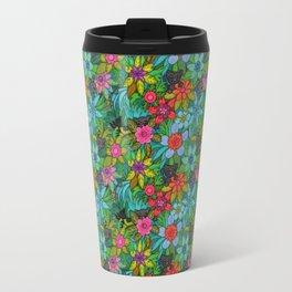 Pattern kitties and flowers Travel Mug