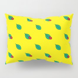 Neon yellow green red floral dots ladybug Pillow Sham