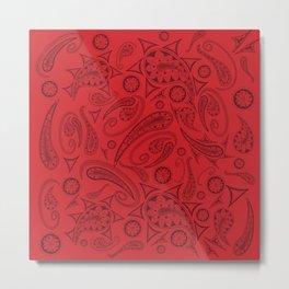 Flame Scarlet Paisley Metal Print