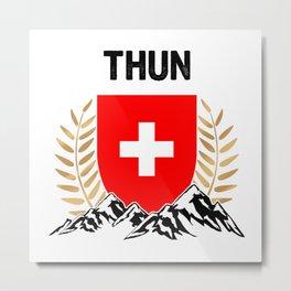 Thun Swiss Flag TShirt Swiss Alps Shirt Switzerland Gift Idea  Metal Print