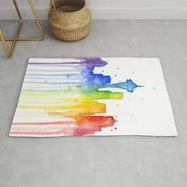 Seattle Skyline Rainbow Watercolor Rug