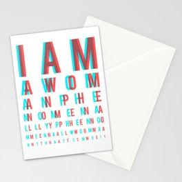I am a Woman. Phenomenally. Phenomenal Woman, that's me./ Eye chart Stationery Cards