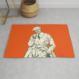 Vintage Fashion Pipe Smoking Man with Orange Bold Background Rug