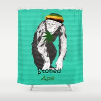 ape Shower Curtains featuring Stoned Ape by Design4u Studio