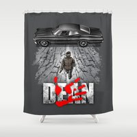 dean winchester Shower Curtains featuring Dean by Six Eyed Monster