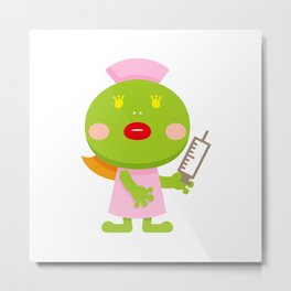 Frog blonde nurse and syringe Metal Print