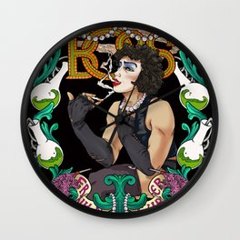 Frank 'n Furter in light blue Wall Clock