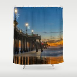 Holiday Lights on Huntington Pier Shower Curtain