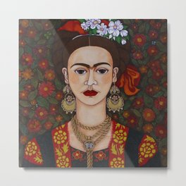 Frida with butterflies Metal Print