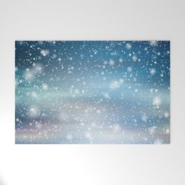 Snow Bokeh Blue Pattern Winter Snowing Abstract Welcome Mat