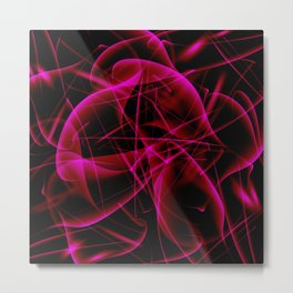 Glowing web of pink cosmic lines of energy and a mystical smoke screen on a black background. Metal Print