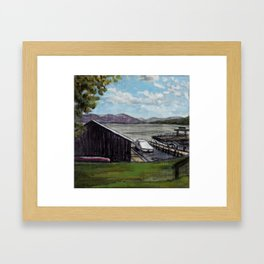 Lake George, NY Boathouse and Boat Framed Art Print