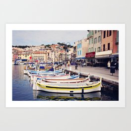 Boats in Cassis Harbor Art Print