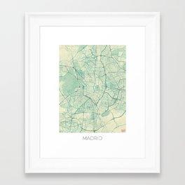 Madrid Map Blue Vintage Framed Art Print