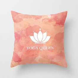 Yoga Queen  - Living Coral Watercolor Throw Pillow