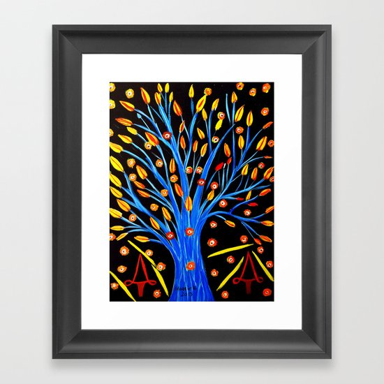 Blue tree/abstract Framed Art Print