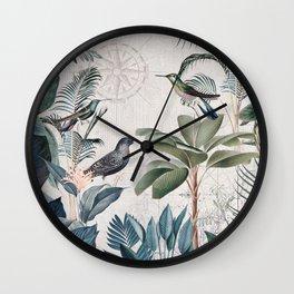 Tropical Birds Paradise Vintage Botanical Illustration Wall Clock