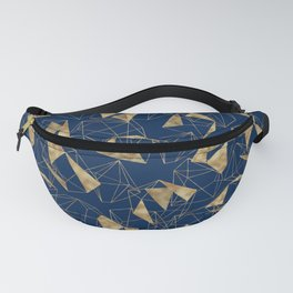 Royal Blue Gold Abstract Geometric Good Vibes Only Typography Fanny Pack