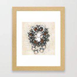 White Deer In The Christmas Wreath Framed Art Print