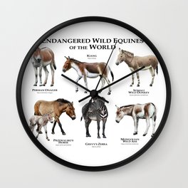 Endangered Equines of the World Wall Clock