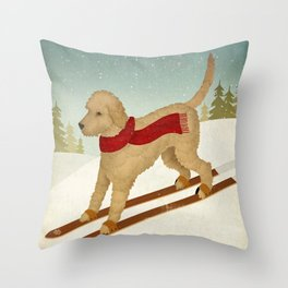 Doodle Schnoodle Whoodle Labradoodle Goldendoodle Ski Dog Throw Pillow