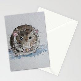Grey rat illustration Stationery Cards