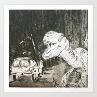 jurassic park Art Prints featuring Jurassic by Erika Marie Burke