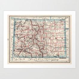 Colorado Counties Map (1893) Art Print