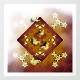 Gold butterflies and flowers on copper mandala Art Print