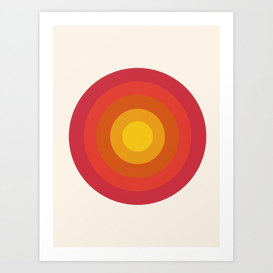 Right On - retro throwback 70s 1970s bullseye beach 70's vibes minimal art by Seventy Eight Art Print
